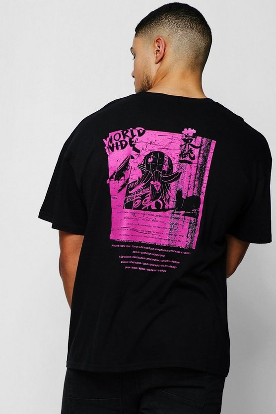 Mens Black Neon Pink Back Print T-Shirt