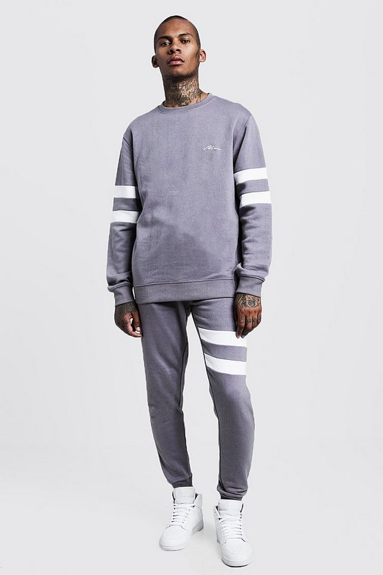 Mens Ash Contrast Sleeve Panel Sweater Tracksuit