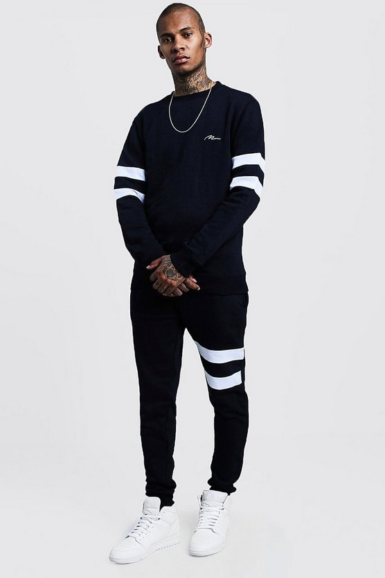 Mens Navy Contrast Sleeve Panel Sweater Tracksuit