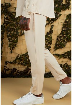 Mens Stone Plain Smart Jogger Trouser
