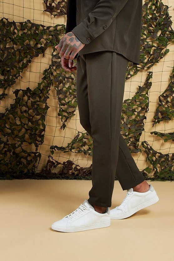Mens Olive Plain Smart Jogger Trouser