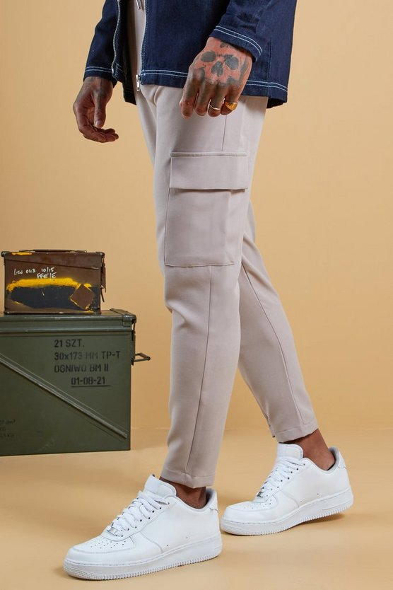 Mens Stone Plain Utility Pocket Smart Jogger Trouser