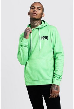 Mens Green Neon Washed Slogan Print Hoodie