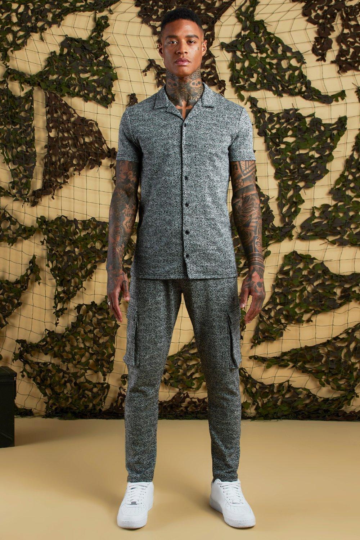 Herringbone Short Sleeve Revere Jersey Shirt