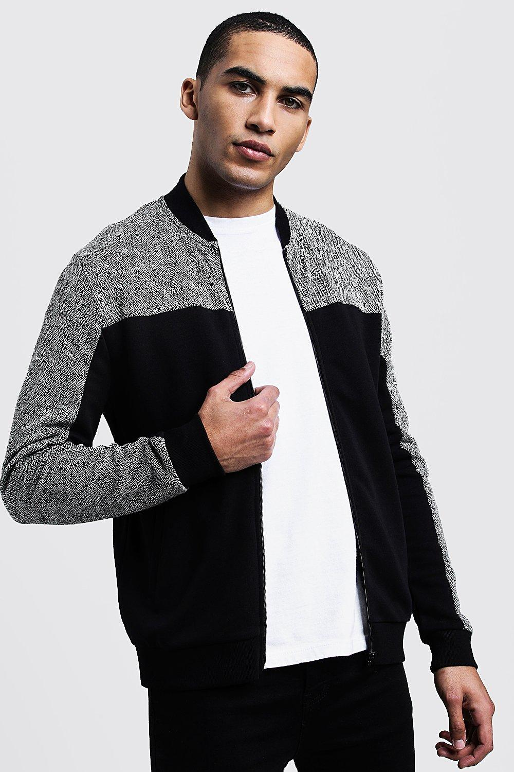 Jacquard Panelled Smart Bomber Jacket