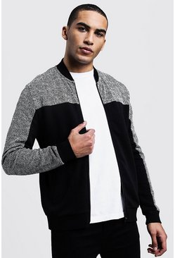 Mens Black Jacquard Panelled Smart Bomber Jacket