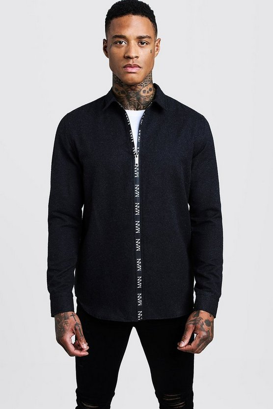 Black Long Sleeve Flannel Shirt With MAN Zip
