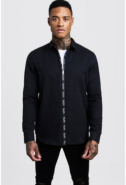 Mens Black Long Sleeve Flannel Shirt With MAN Zip