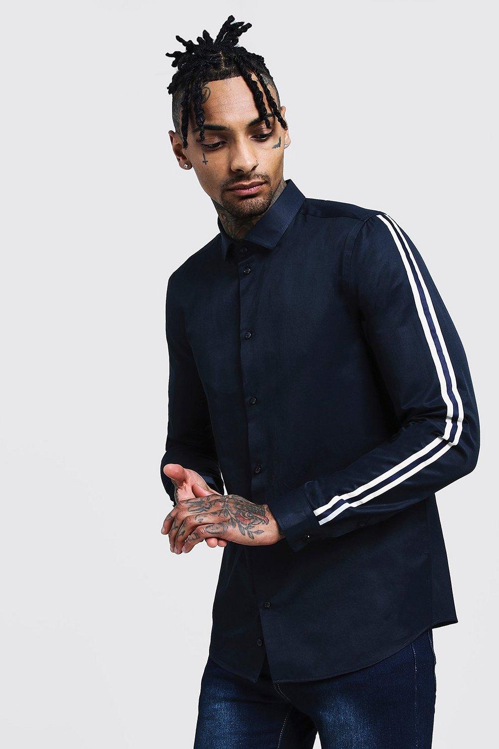 3f5d8beb993 Приталенная рубашка с длинными рукавами и отделкой лентой
