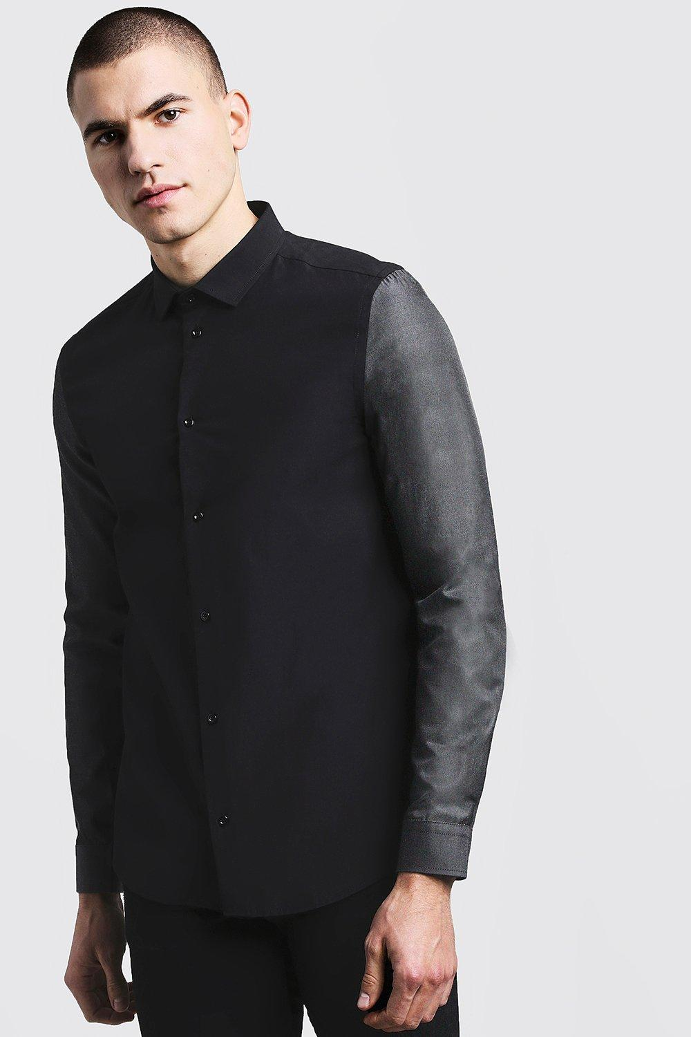 Slim Fit Long Sleeve Shirt With Contrast Sleeves