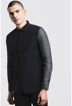 Mens Black Slim Fit Long Sleeve Shirt With Contrast Sleeves