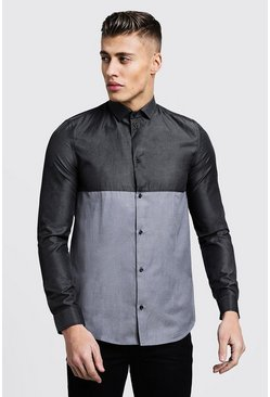 Mens Charcoal Colour Block Long Sleeve Slim Fit Shirt