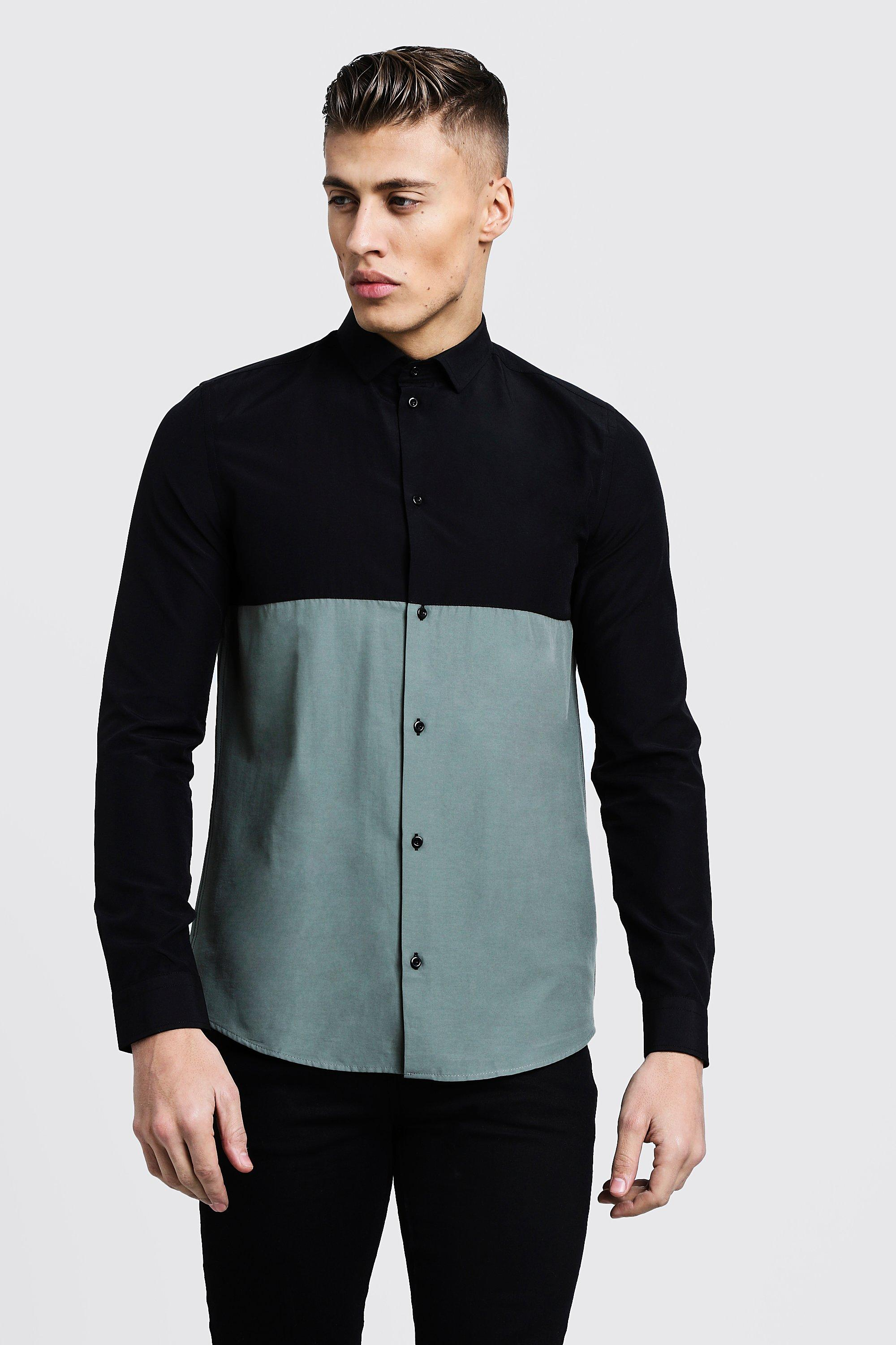 Colour Block Long Sleeve Slim Fit Shirt