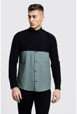 Mens Sage Colour Block Long Sleeve Slim Fit Shirt