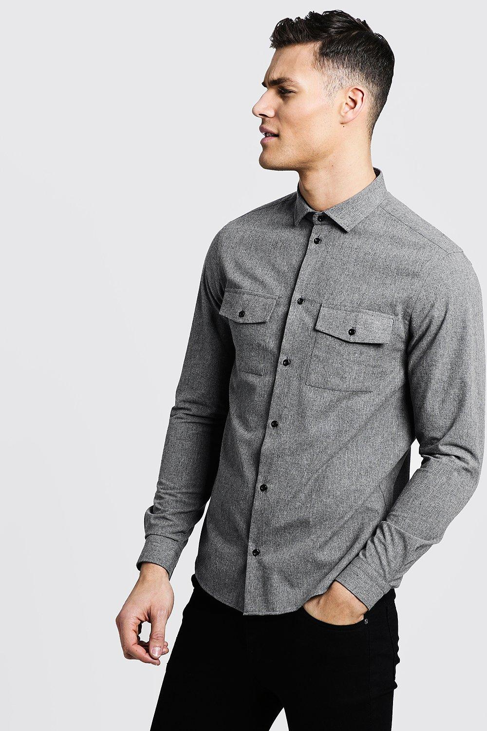 Brushed Flannel Long Sleeve Utility Shirt
