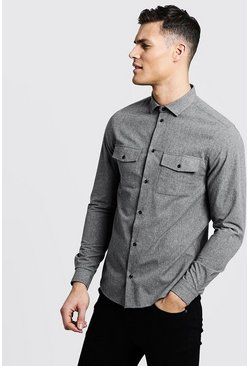 Mens Grey Brushed Flannel Long Sleeve Utility Shirt