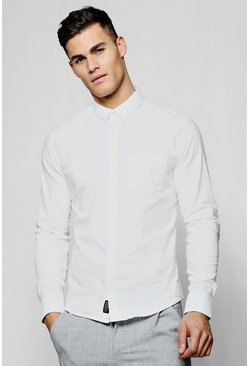 Mens White Long Sleeve Cotton Oxford Shirt