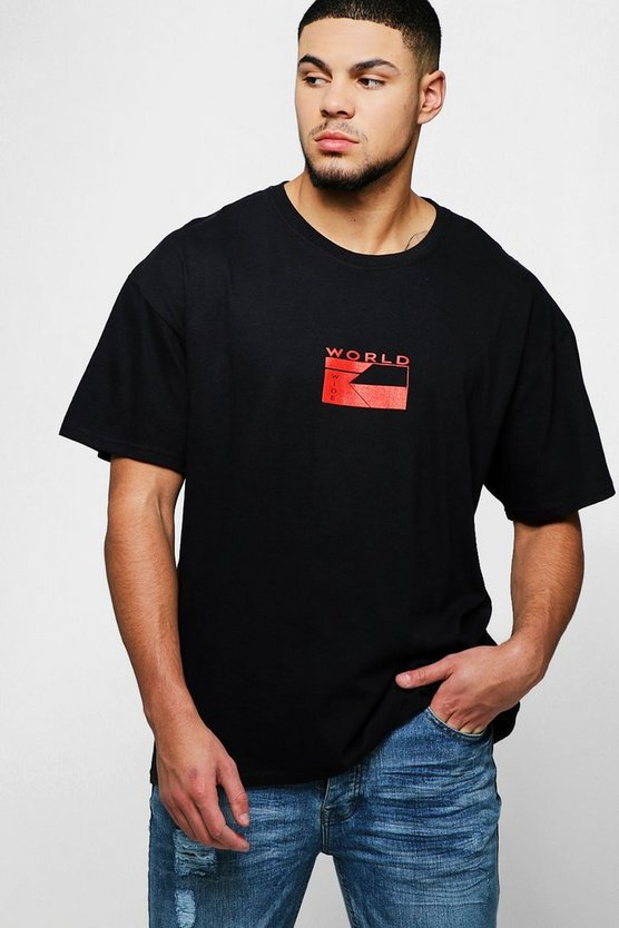 "Camiseta extragrande con eslogan ""World Wide"", Negro, Hombre"