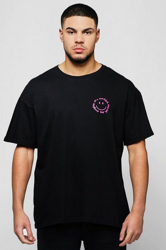 Mens Black Loose Fit T-Shirt With Placement Print