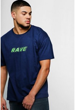 Mens Navy Loose Fit Rave Neon Print T-Shirt