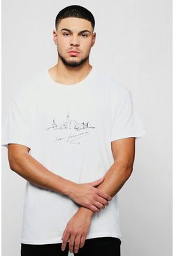 Mens White Loose Fit San Francisco City Scape T-Shirt
