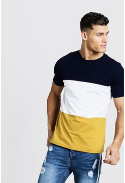 T-shirt ras du cou Colorblock, Moutarde