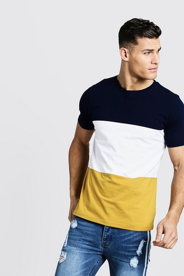 Mens Mustard Crew Neck Colour Block T-Shirt