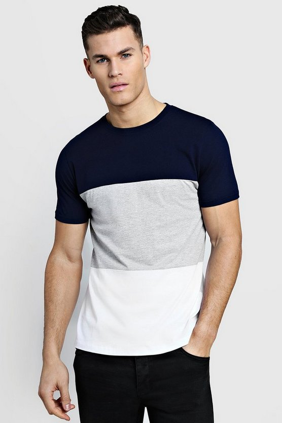 Grey Crew Neck Colour Block T-Shirt