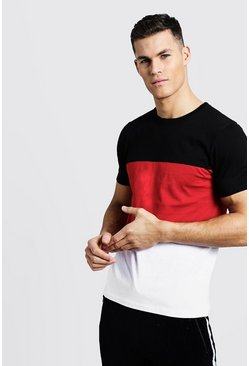 T-shirt ras du cou Colorblock, Rouge, Homme