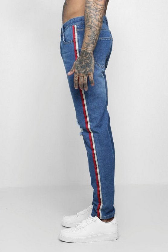 Mens Mid blue Skinny Fit Distressed Side Tape Jeans