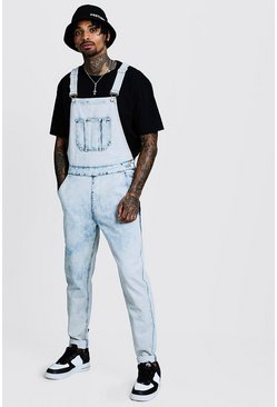 Mens Pale blue Slim Fit Acid Wash Denim Dungarees