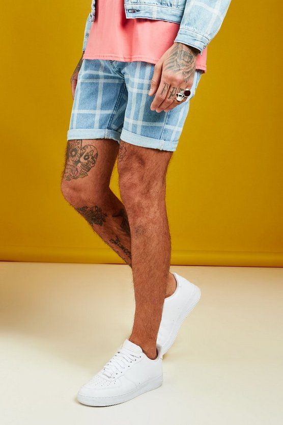 Mens Vintage wash Slim Fit Denim Shorts With Check Print
