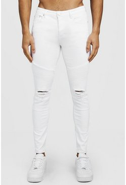 Mens White Biker Detail Skinny Fit Jeans