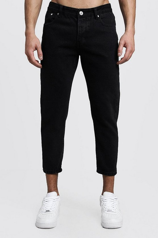 Mens Black Skinny Fit Cropped Rigid Denim Jeans