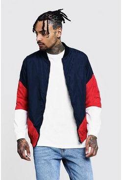 Mens Navy Colour Block Zip Through Bomber Jacket
