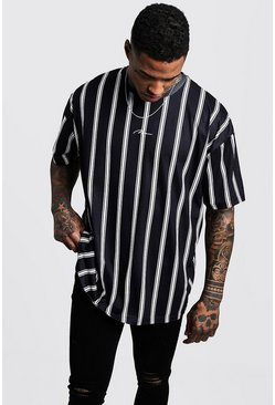 Mens Black Oversized Stripe MAN Signature T-Shirt