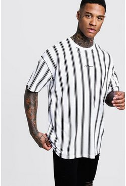 White Oversized Stripe MAN Signature T-Shirt