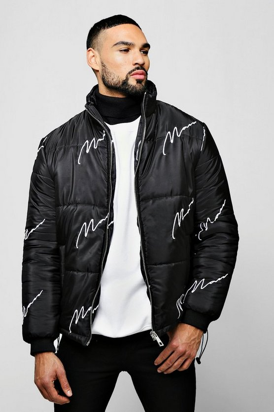 MAN Embroidered Script Puffer
