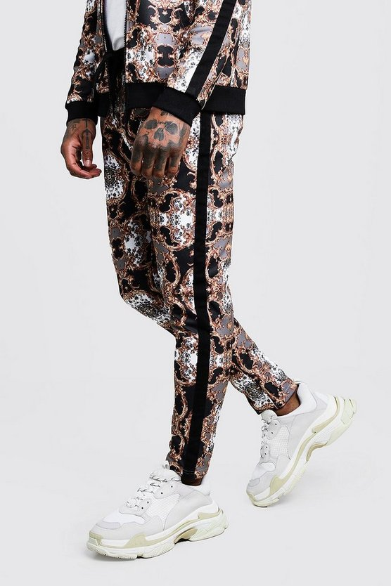 Mens Multi All Over Baroque Printed Jogger With Tape Detail