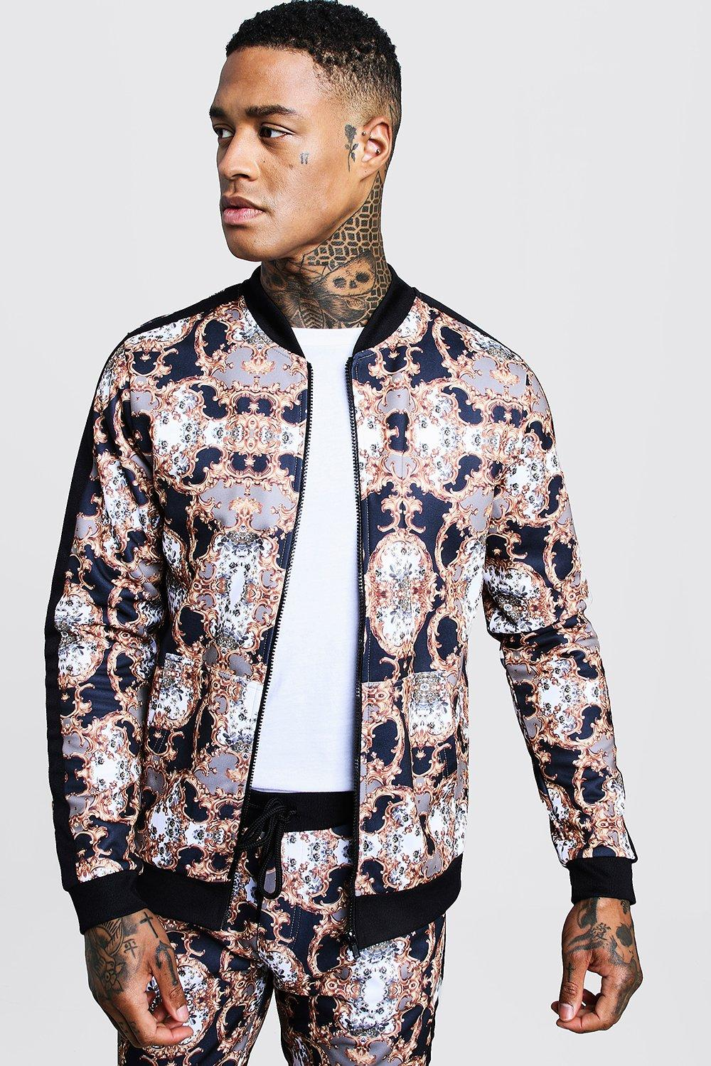 All Over Baroque Printed Bomber With Tape Detail