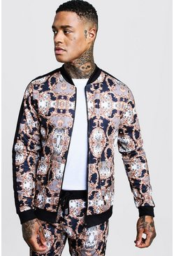 Herr Multi All Over Baroque Printed Bomber With Tape Detail
