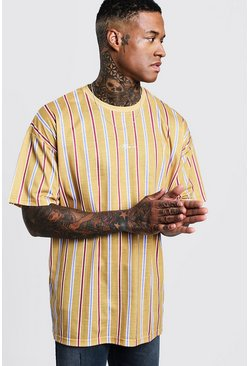 Mens Mustard Oversized Stripe MAN Signature T-Shirt