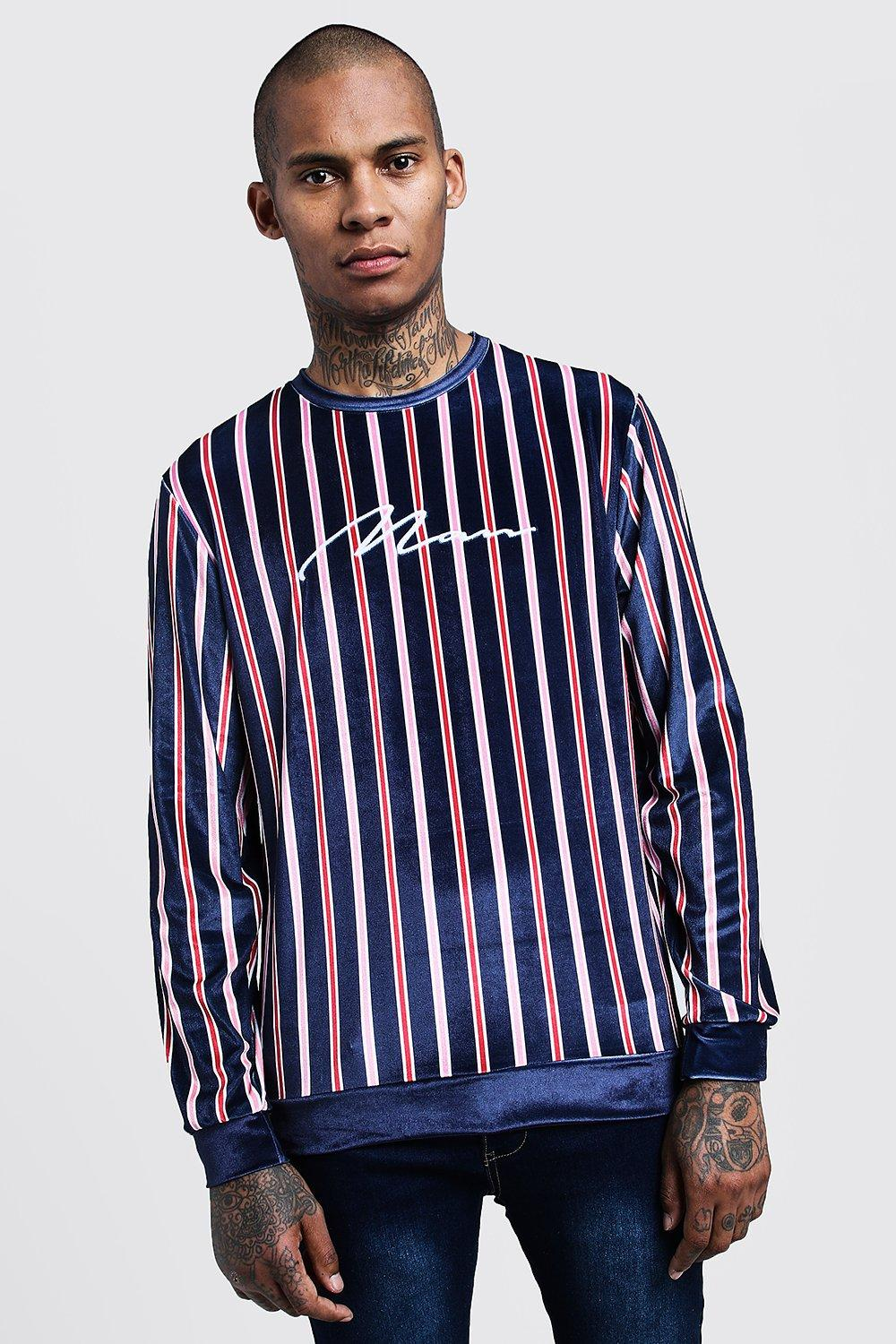 Velour Stripe MAN Embroidered Sweater