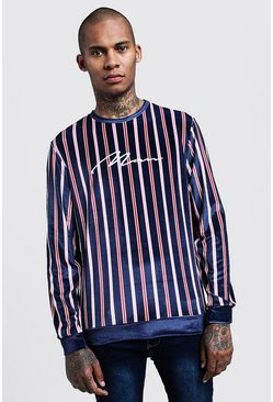 Mens Navy Velour Stripe MAN Embroidered Sweater