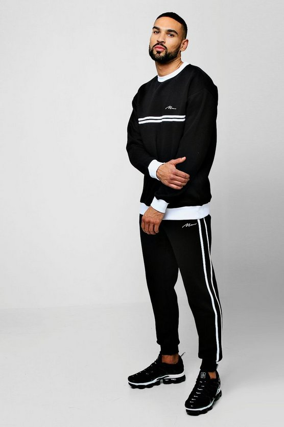 Mens Black Sweater MAN Signature Tracksuit With Contrast Tape