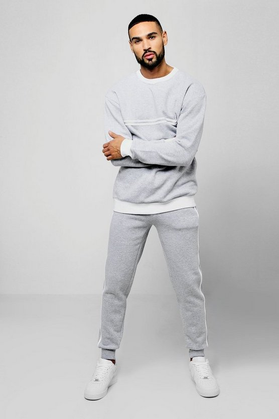 Mens Grey Sweater MAN Signature Tracksuit With Contrast Tape