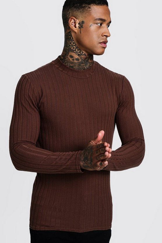 Mens Chocolate Brushed Rib Turtle Neck Muscle Fit Jumper