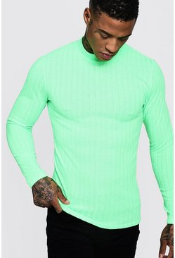 Mens Neon-green Brushed Rib Turtle Neck Muscle Fit Jumper