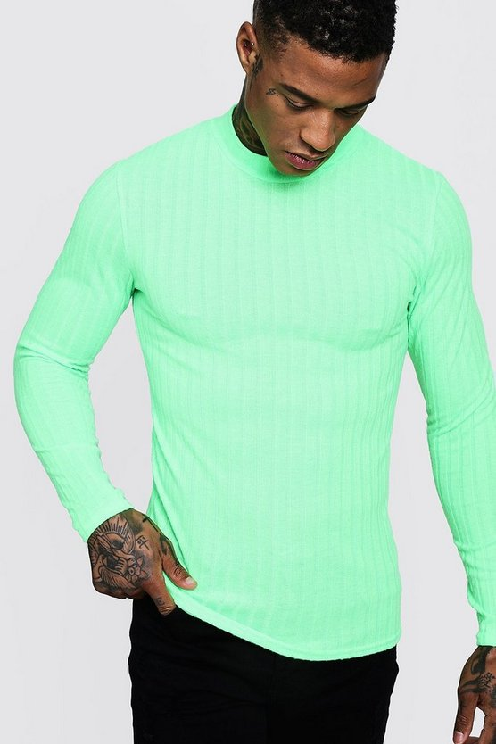 Mens Neon-green Brushed Rib Turtle Neck Muscle Fit Sweater
