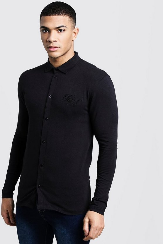 Mens Black Long Sleeve Muscle Fit Jersey Shirt With BM Logo